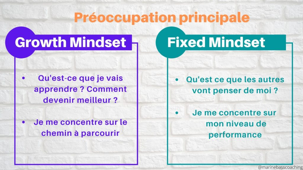 Les préoccupations principales du Growth et Fixed Mindset